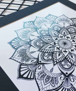 Wall Art Print Mandala Black and White