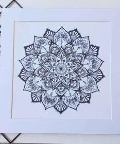 Wall Art Print Mandala Black and White