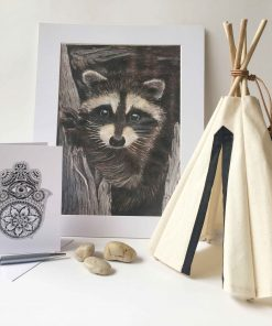 Art Print Raccoon Hamsa Hand Greeting Card