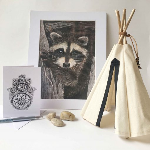 Art Print Raccoon Hamsa Hand Greeting Card