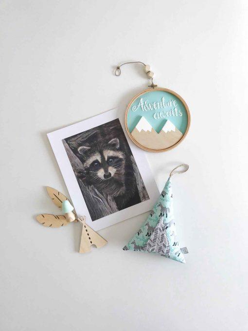 Wall Art Print Raccoon