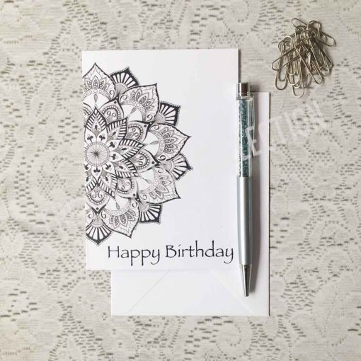 Happy Birthday Greeting Card Mandala